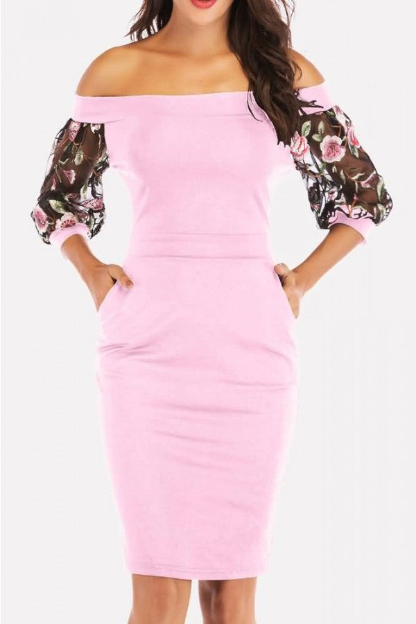 Pink Embroidery Mesh Splicing Off Shoulder Sexy Bodycon Dress