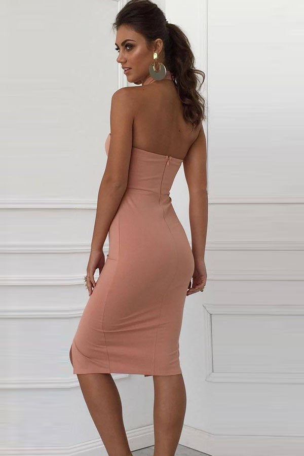 Pink Halter Front Slit Zipper Back Midi Dress