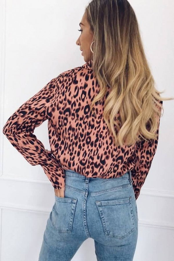 Pink Leopard Button Up Long Sleeve Casual Shirt