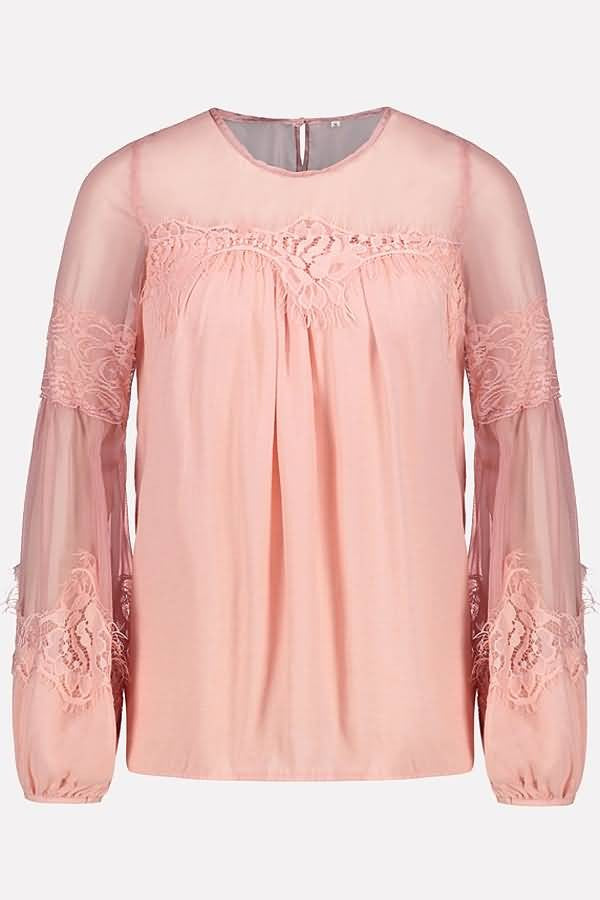 Pink Mesh Splicing Round Neck Long Sleeve Casual Blouse