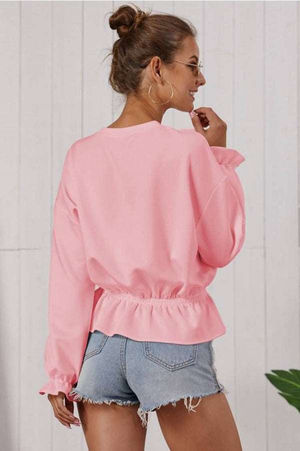 Pink Peplum Crew Neck Long Sleeve Casual Blouse