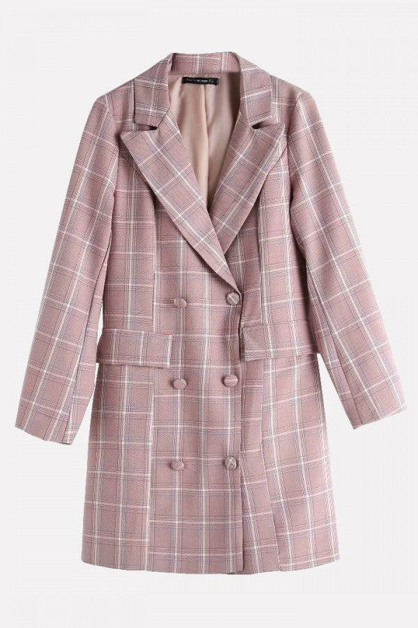 Pink Plaid Double Breasted Long Sleeve Casual Blazer