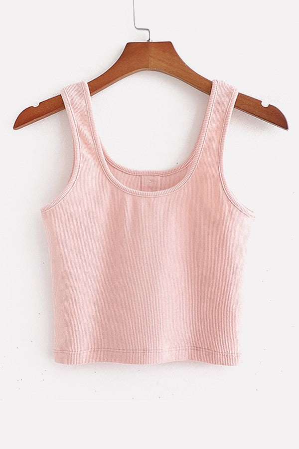 Pink Ribbed U Neck Button Decor Casual Tank Tops