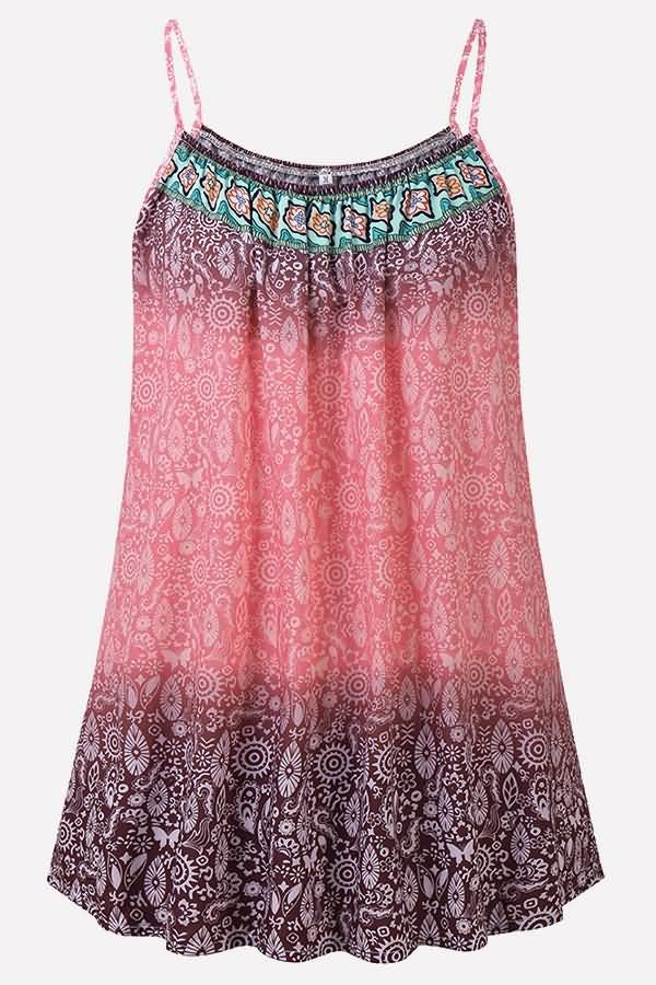 Pink Tribal Print U Neck Casual Camisole