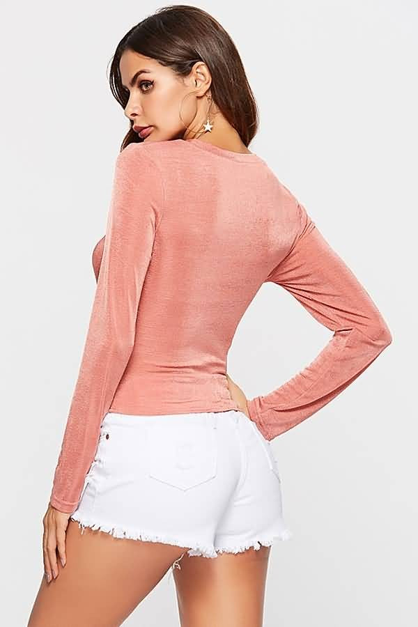 Pink Twisted Crew Neck Long Sleeve Sexy T Shirt