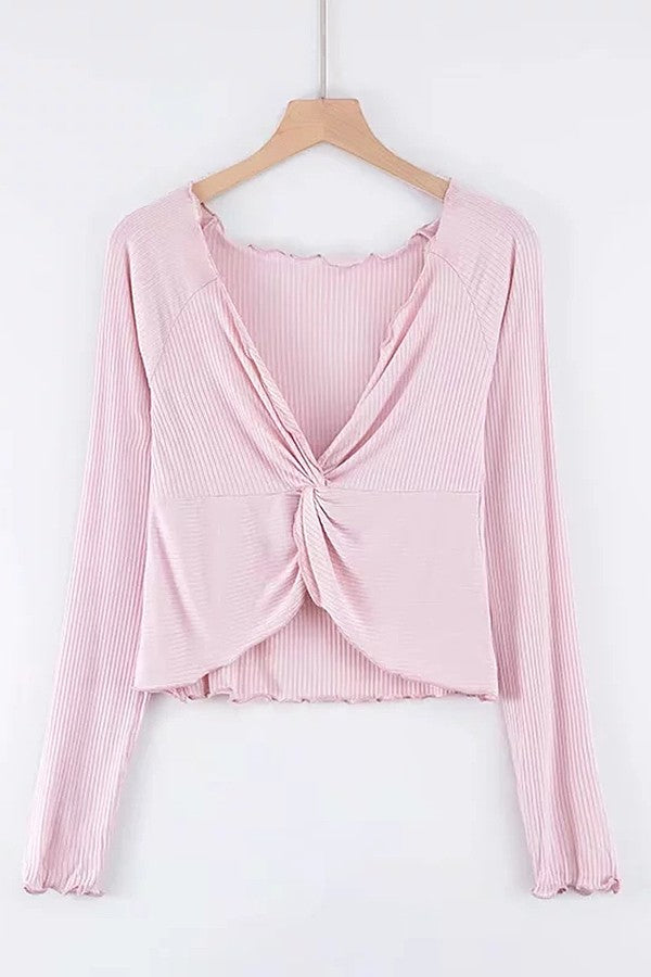 Pink Twisted Ruffles Trim V Neck Long Sleeve Casual Pullover Sweater