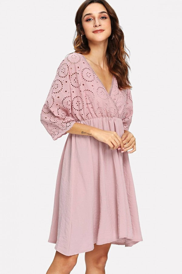 Pink V Neck Hollow Out Bat Sleeve Casual Dress