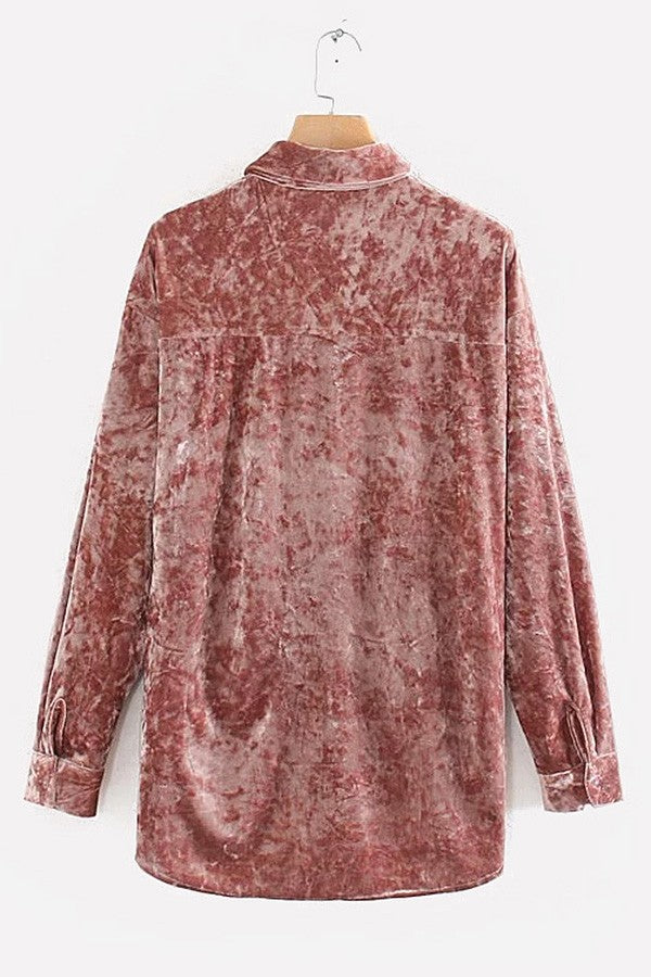 Pink Velour Button Up Long Sleeve High Low Casual Shirt