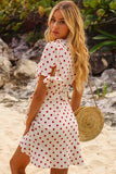 Polka Dot Surplice Ruffles Tied Casual Dress
