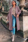 Purple Shawl Collar Long Sleeve Open Front Casual Coat