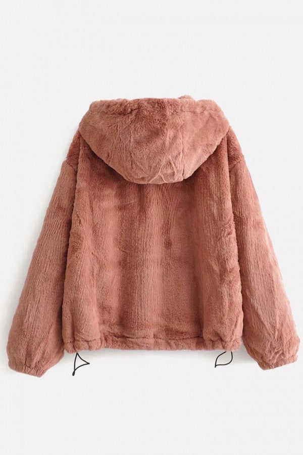 Red Faux Fur O Ring Zipper Up Hoodie Long Sleeve Casual Coat