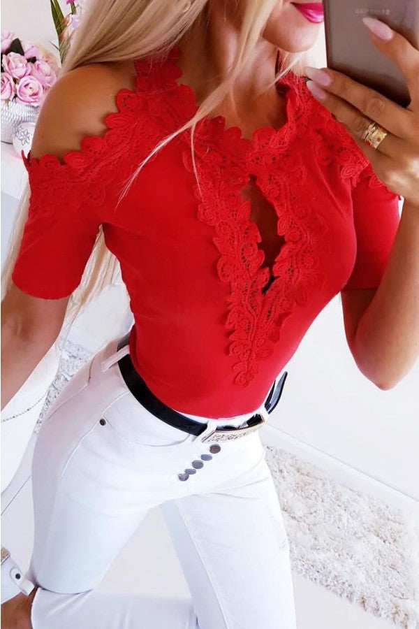 Red Lace Splicing Cold Shoulder Sexy T Shirt