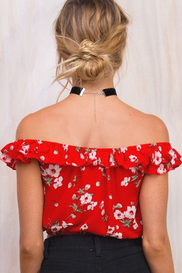 Red Off Shoulder Floral Pattern Chiffon Crop Top