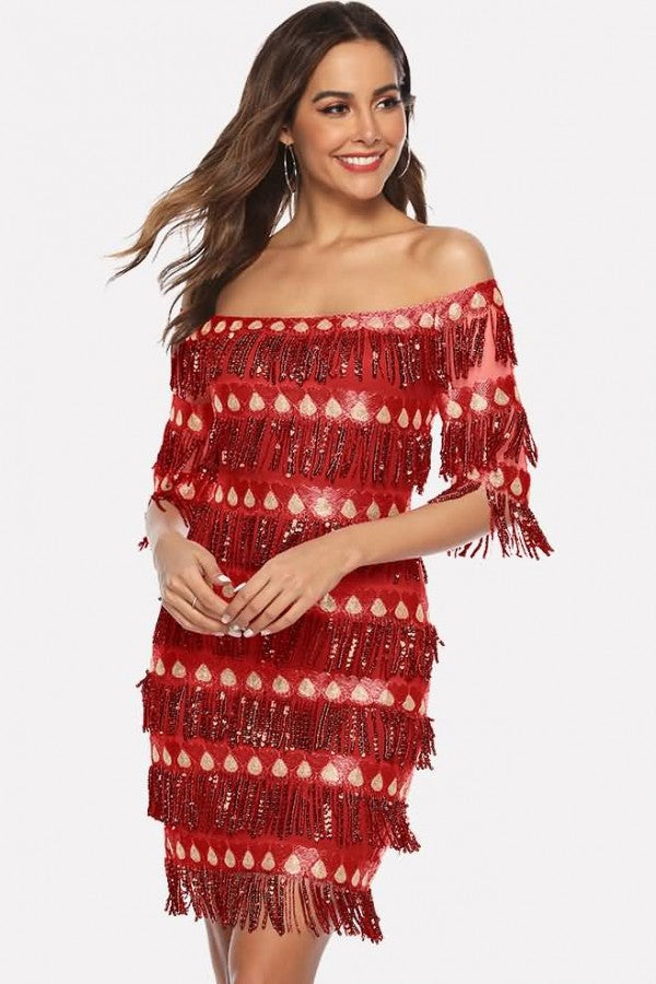 Red Off Shoulder Half Sleeve Sexy Bodycon Dress