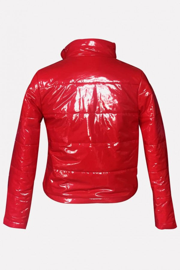 Red Pu Zipper Up Long Sleeve Casual Coat
