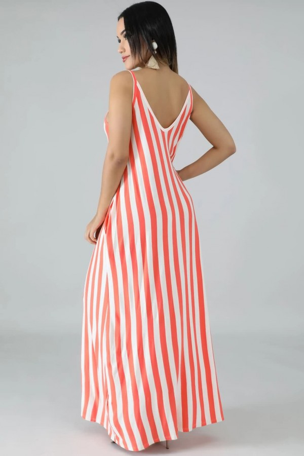 Red Stripe Spaghetti Straps V Neck Casual Maxi Dress