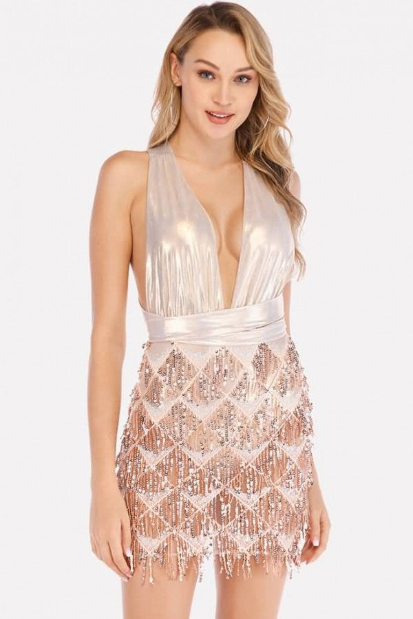 Rose-gold Sequin Mesh Splicing Plunging Sexy Bodycon Mini Dress