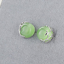 Load image into Gallery viewer, Cute Green Opal Cat Eyes Hollow Pattern Silver Earrings Studs
