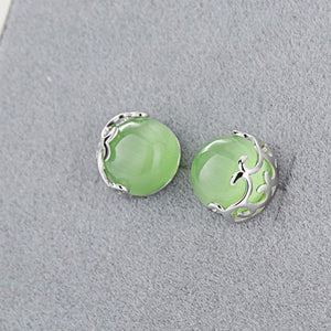 Cute Green Opal Cat Eyes Hollow Pattern Silver Earrings Studs