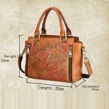 Load image into Gallery viewer, Retro 3D Flower Handbag Leather Vintage Double Zippers Shoulder Bag
