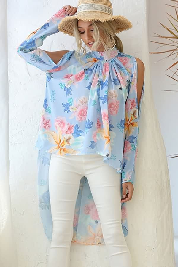 Sapphire Floral Print Cold Shoulder High Low Casual Blouse
