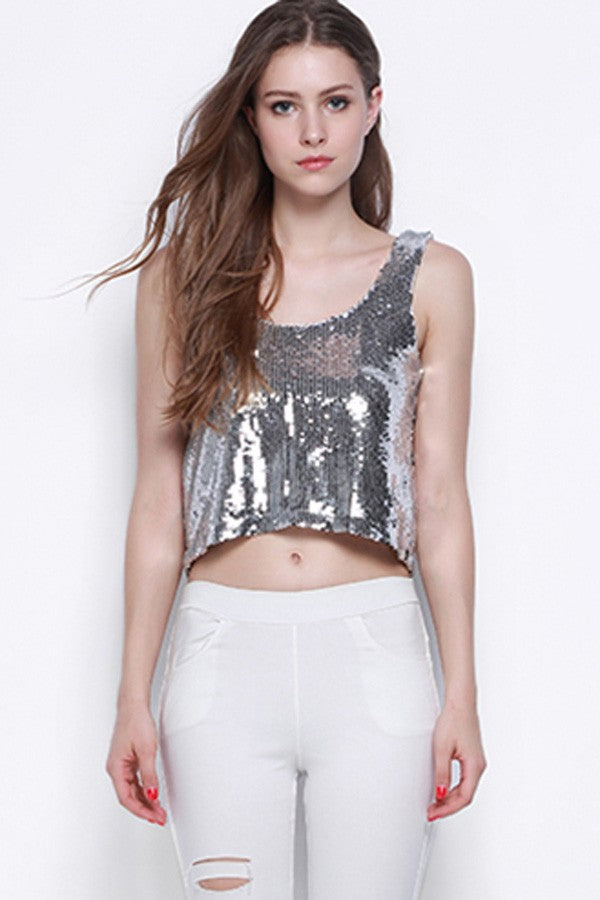 Silver Sequins Low Back Tank