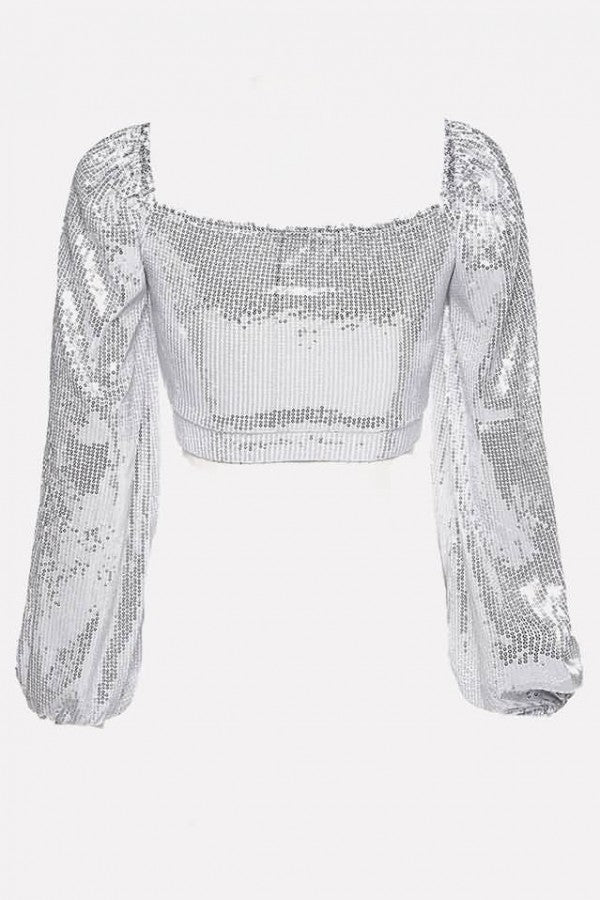Silver Sequins V Neck Long Sleeve Sexy Crop Top