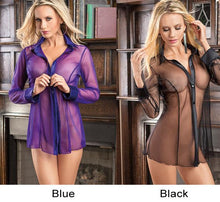 Load image into Gallery viewer, Sexy Mesh Open Shirt Long Sleeve Pajamas Flirt Perspective Women Lingerie