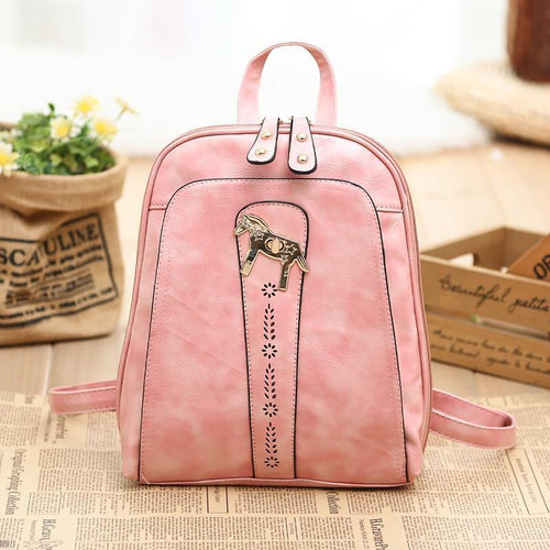 Pony Mini Candy-colored PU Backpack Shoulder Bag - xikeoo