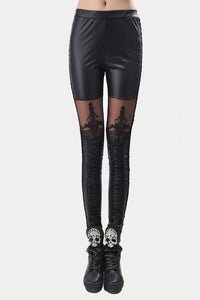 Nice Leatherette Straps Crochet Lace Leggings - xikeoo