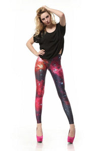 Nice Galaxy Pink Printed Gradient Leggings - xikeoo