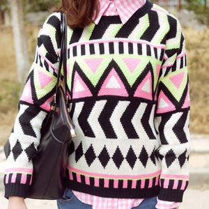Totem Geometry Ladies Sweaters & Cardigans For Big Sale!- xikeoo.com