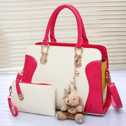 New Embossed Bear Handbag Shoulder Bag - xikeoo