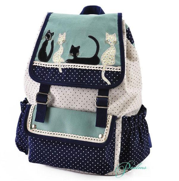 Fresh Cat Lace Leisure School Backpack - xikeoo