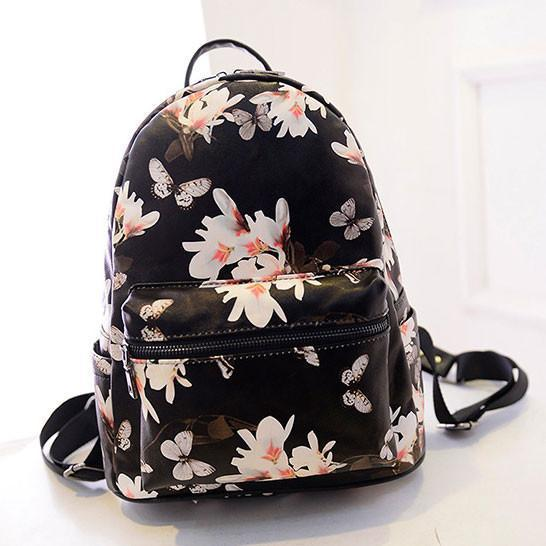 Unique Flower Printing Leather Backpacks For Big Sale!- xikeoo.com