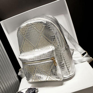 Rivet Punk Glossy Retro College Backpacks - xikeoo