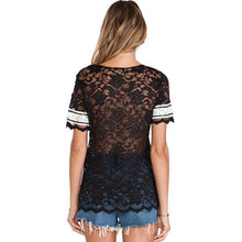 Load image into Gallery viewer, Summer Fashion Alphabet Lace Perspective Sweatshirt T-shirt For Big Sale!- xikeoo.com