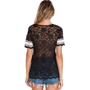 Summer Fashion Alphabet Lace Perspective Sweatshirt T-shirt For Big Sale!- xikeoo.com