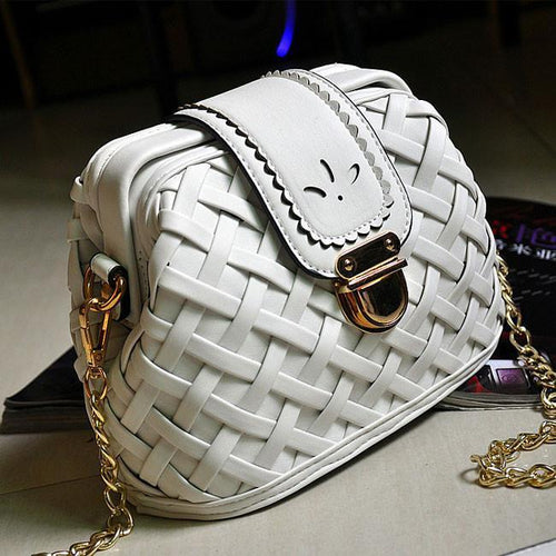 Retro Chain Weave Grid Leisure Shoulder Bags - xikeoo