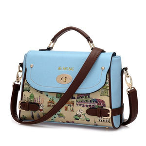 Blue Cute Cartoon Leather Handbag Shoulder Bag - xikeoo