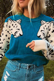 Lion Crew Neck Long Sleeve Casual Pullover Sweater