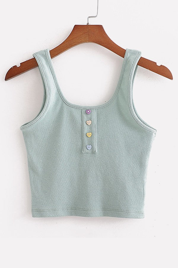 Teal Ribbed U Neck Button Decor Casual Tank Tops