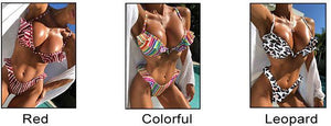 Fashion Leopard Swimsuit Sling Ruffle Stripe Colorful Women Summer Bikinis
