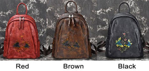 Retro Branches Flowers Handmade Original Dragonfly Thick Leather Travel Backpack