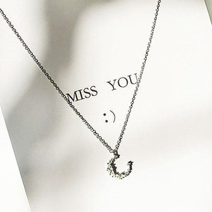 Cute Silver Necklace Friend Gift  Moon Zircon Pendant Women Necklace
