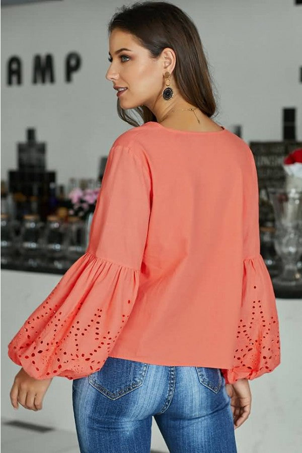 Watermelon Hollow Out Tied V Neck Puff Sleeve Casual Blouse