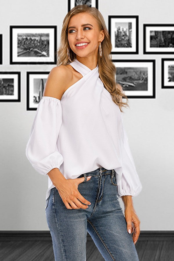White Bare Shoulder Puff Sleeve Zipper Back Casual T Shirt