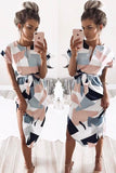 White Color Block Short Sleeve Tie Waist Casual Dress