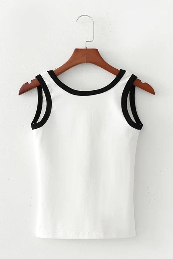 White Contrast Round Neck Open Back Casual Tank Tops