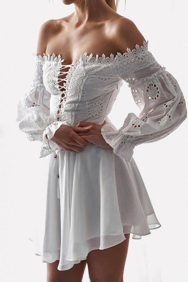 White Crochet Off Shoulder Lace Up Long Sleeve Casual Dress